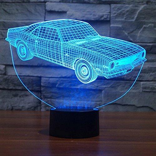 NOCHX 3D Lamp New Car Girls Boys Bithday Gift Acrylic Table Night light Furniture Decorative Illusion colorful 7 color change household Desk (Change Kids Light T-shirt)