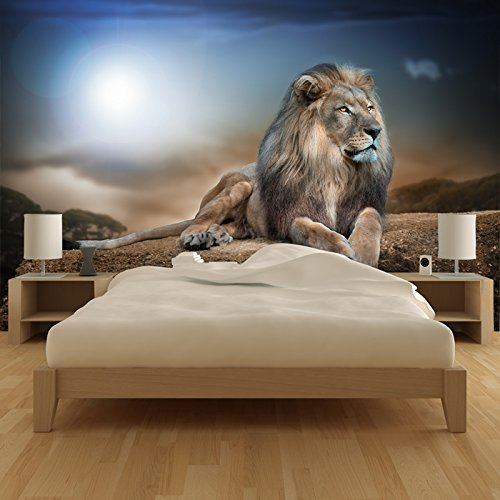 azutura Majestic Lion Wall Mural Safari Animal Photo Wallpaper Kids