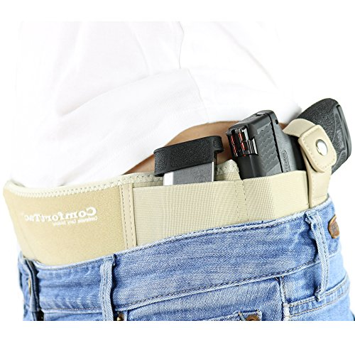 ComfortTac Ultimate Belly Band Holster 2.0 Nude | New 2017 | Fits Glock 19 43 26 Smith and Wesson MP Shield Bodyguard Ruger LC9 Sig Sauer More | Carry IWB OWB Appendix (L (Belly: Up to 42