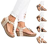 Royou Yiuoer Womens Shoes T Strap Summer Gladiator Beach Flat Wedge Heel Sandal with Buckle Beige US 4