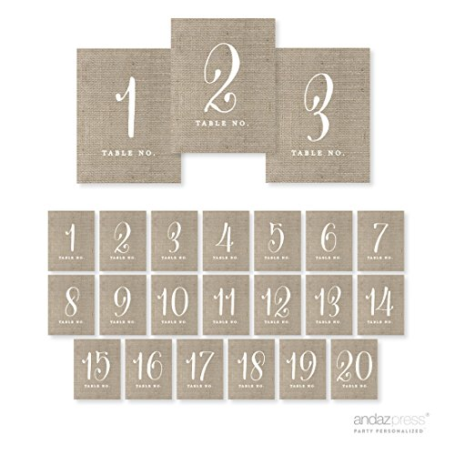 Andaz Press Table Numbers 1-20 on Perforated Paper, Chic Country Burlap Print, 4.25 x 5.5-inch Cardstock Sign, 1-Set, for Weddings, Anniversary -