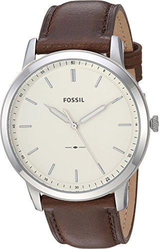 Fossil Men's The The Minimalist 3H Stainless Steel Analog-Quartz Watch with Leather Calfskin Strap, Brown, 22 (Model: FS5439