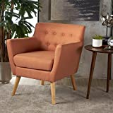 Madeira Buttoned Mid Century Modern Dark Teal Fabric Club Chair (Orange)