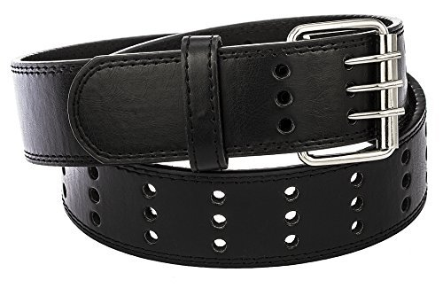 Faux Leather Three-Hole Belt - Up to 4XL Available (3XL, (Large Mens Belts)