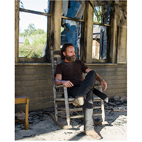 The Walking Dead Andrew Lincoln as Rick sitting on porch in rocking chair 8 x 10 Inch Photo