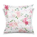Chen Miranda Double Sided Square Pillowcase Romantic French Bouquets Red Pink Cotton Velvet Throw Pillow Cushion Case Cover 16'' x 16'' Invisible Zipper Home Decor for Couch Sofa Car No Pillow Insert