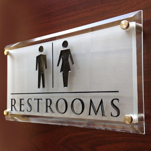 Amazon Com Engraved Glass Restroom Sign Personalized Or Customize The Design