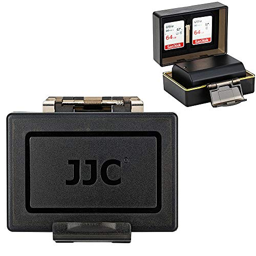 JJC Professional Water-Resistant Anti-Shock Battery Protector Case for Sony NP-FZ100 A9 A7RIII A7RM3 A7III A7M3 NPFZ100 Camera Battery Storage, with 2 Slots for SD Memory Card