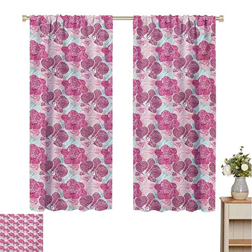 Mozenou Floral, Decorative Curtains for Living Room, Artistic Orchid Blossoms in Pink and Mint Shades and Grunge Effect Tropical Plant, Waterproof Window Curtain Multicolor