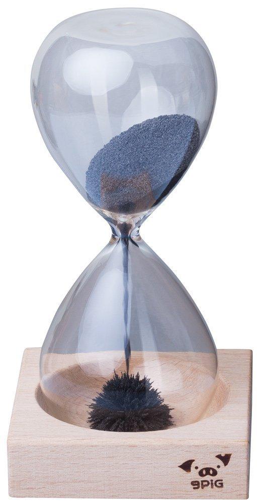 Orologio con sabbia magnetite - Trasparente Durata 40/60 sec. - Clessidra magnetica base legno ideale dono - Grinscard