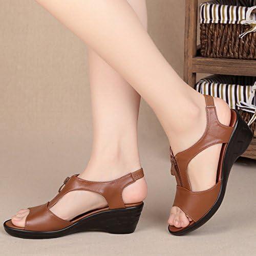 GTVERNH Mom Sandals Summer Flat Bottom Slope Heel Leisure Comfortable Soft Bottom Sandals WomenS Shoes.