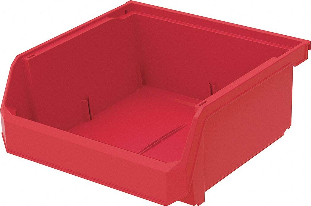Hang and Stack Bin, Red, 11'' Outside Length, 11'' Outside Width, 5'' Outside Height pack of 5