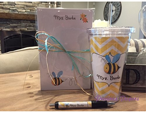 - Personalized bee notepad, pen and tumbler, bee gifts, bee classroom, bee teacher gift, bee gift