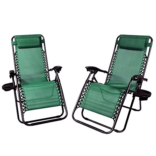 Sunnydaze Forest Green Zero Gravity Lounge Chair with Pillow and Cup Holder, Set of Two by Sunnydaze Decor