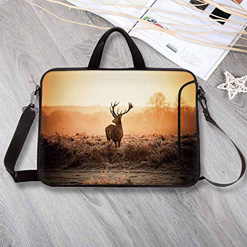 "Hunting Decor Custom Neoprene Laptop Bag,Red Deer in The Morning Sun Wild Nature Scenery Countryside Rural Heathers Decorative Laptop Bag for Men Women Students,13.8""L x 10.2""W x 0.8""H"
