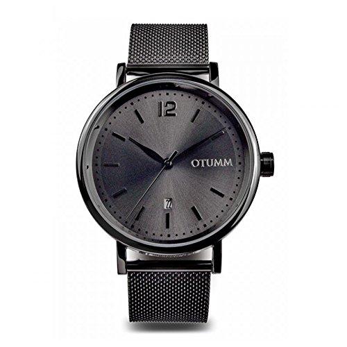 Otumm Mesh Hombre Calendario Negro 43mm Hombre Mesh Reloj: Amazon.es: Relojes