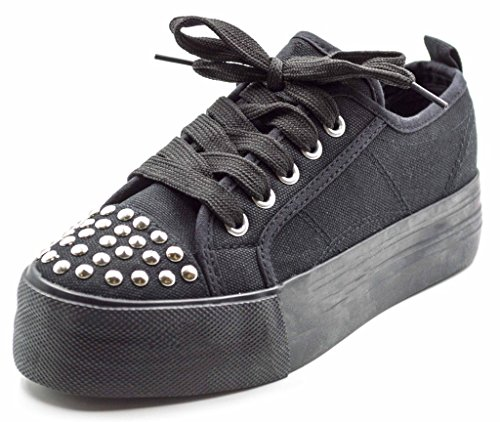Charles Albert Women's BRAADY Lace Up Platform Sneaker Flats in Black/Silver Size: 8