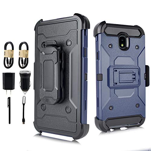 Case for Galaxy J7 2018/J7 V 2018/J7 Refine/J7 Star/J7 Aero/J7 Top/J7 Crown/J7 Aura/J7 Eon, [Heavy Duty] [Shockproof Protection] Case Cover with Swivel Belt Clip and Kickstand [Value Bundle] (Navy)