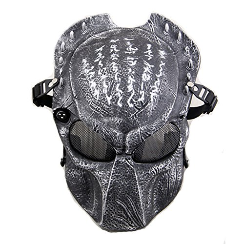 ATAIRSOFT Tactical Airsoft Paintball Alien Vs Predator Protective Full Face Mask Silver Black by ATAIRSOFT
