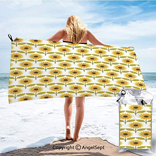 RWNHome Towel Fashion Beach Towels for Travel - Quick Dry,Sunflowers Pattern Autumn Country Style Decorating Retro Illustration Yellow White Green,27.5