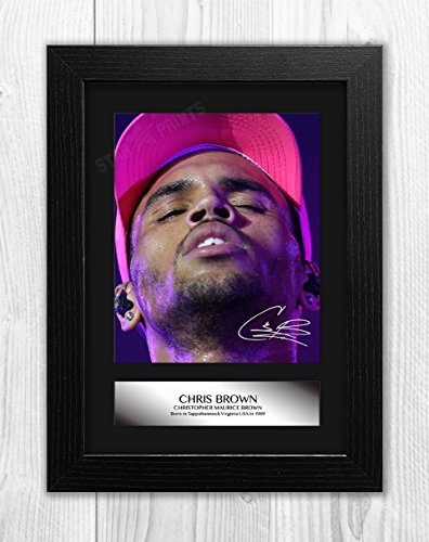 Engravia Digital Chris Brown Signed Autograph Reproduction Mounted Photo A4 Print(Black Frame)