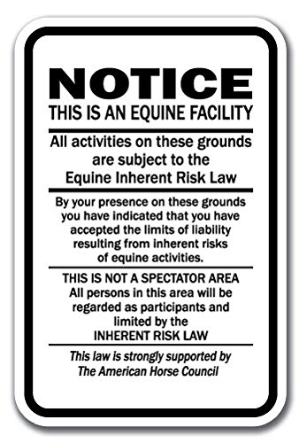 """Supplemental Equine Liability 12"""" x 18"""" Heavy Gauge Aluminum Sign warning statute horse barn stable farm signs from SignMission"""