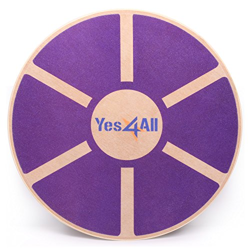 Yes4All B62R Wooden Wobble Balance Board – Exercise Balance Stability Trainer 15.75 inch Diameter (Special Sales) (Purple) ()