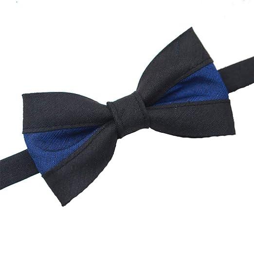 Cvbndfe Pajarita Caballero Corbata de Lazo de Color Azul y Negro ...