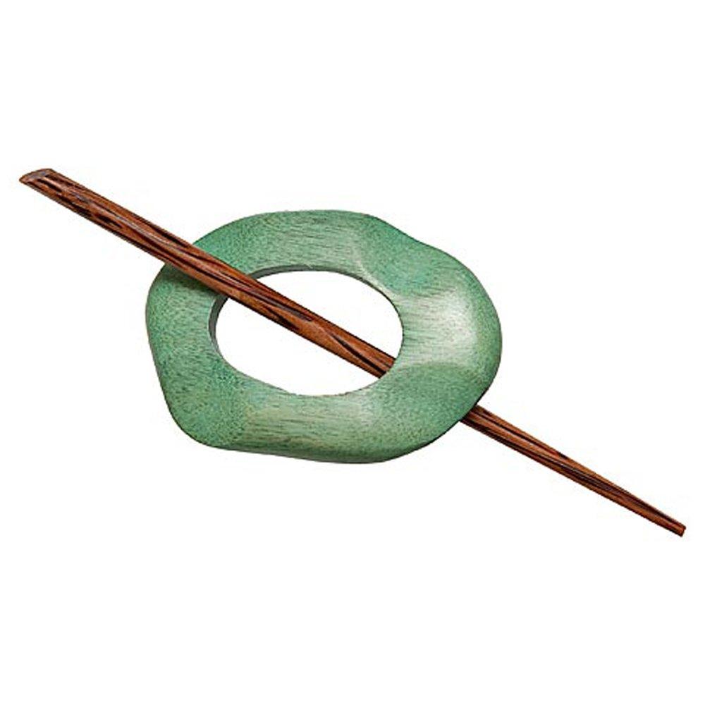Wood Shawl Pin-Sage