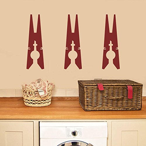 Laundry Wall Decal Clothespins Wall Sticker Vinyl Laundry Room Wall Deor Wall Mural Wall Graphic Home Art Decoration Black (Clothes Wall Decals)