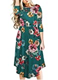 Fantaist Women's Fall 3/4 Sleeve Floral Loose Fit and Flare Dress with Pocket (XL, FT619-Dark Green)