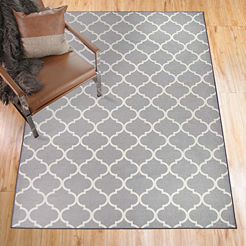 RUGGABLE Washable Stain Resistant Pet Dog Accent Rug for Indoor Outdoor – Moroccan Trellis Light Grey 3 x 5 Accent Rug Set