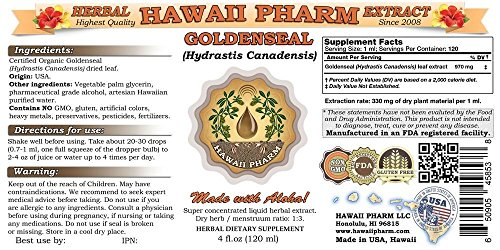 Goldenseal Liquid Extract, Organic Goldenseal (Hydrastis Canadensis) Tincture Supplement 15x4 oz by HawaiiPharm (Image #1)