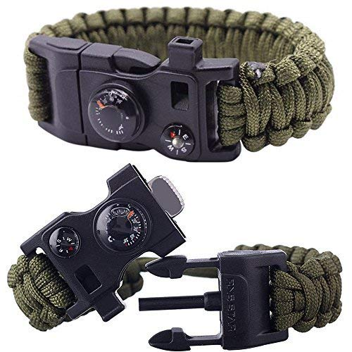 RnS STAR Paracord Bracelet Survival Bracelet 500 LB Parachute Rope Bracelet Hiking Travelling Camping Gear Kit 12-IN-1 Compass, Thermometer, Whistle, Screwdriver, Scrapper, Wrench ( Green )