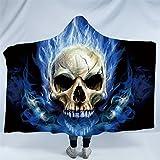Sleepwish Blue Fire Flames Skull Hooded Blanket Sherpa Fleece Throw Skull Plush wearable blanket hoodie for Adult Kids (50''x 60'')