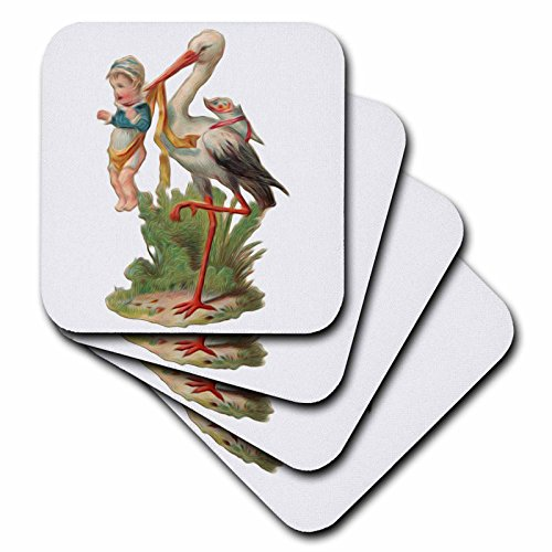 3dRose cst_119039_3 Vintage Victorian Faux Oil Painting Effect Stork with Baby Boy Ceramic Tile Coasters, Set of (Baby Tile Coaster)