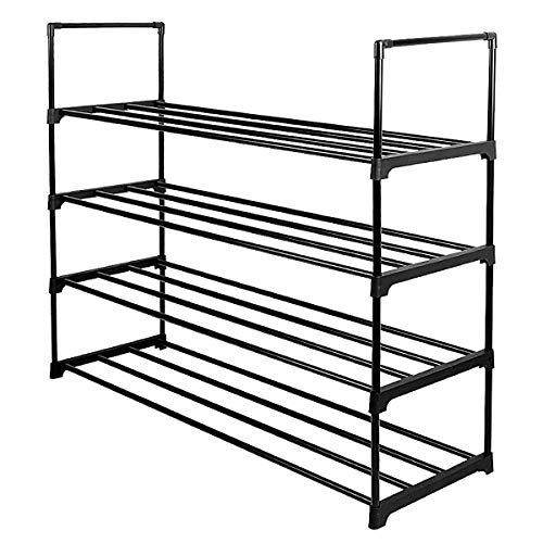 Lumsing Shoe Rack, 4-Tier Shoe Organizer Shelf Stackable Storage Cabinet Towers with Durable Metal Holds 20 Pairs, Black ()