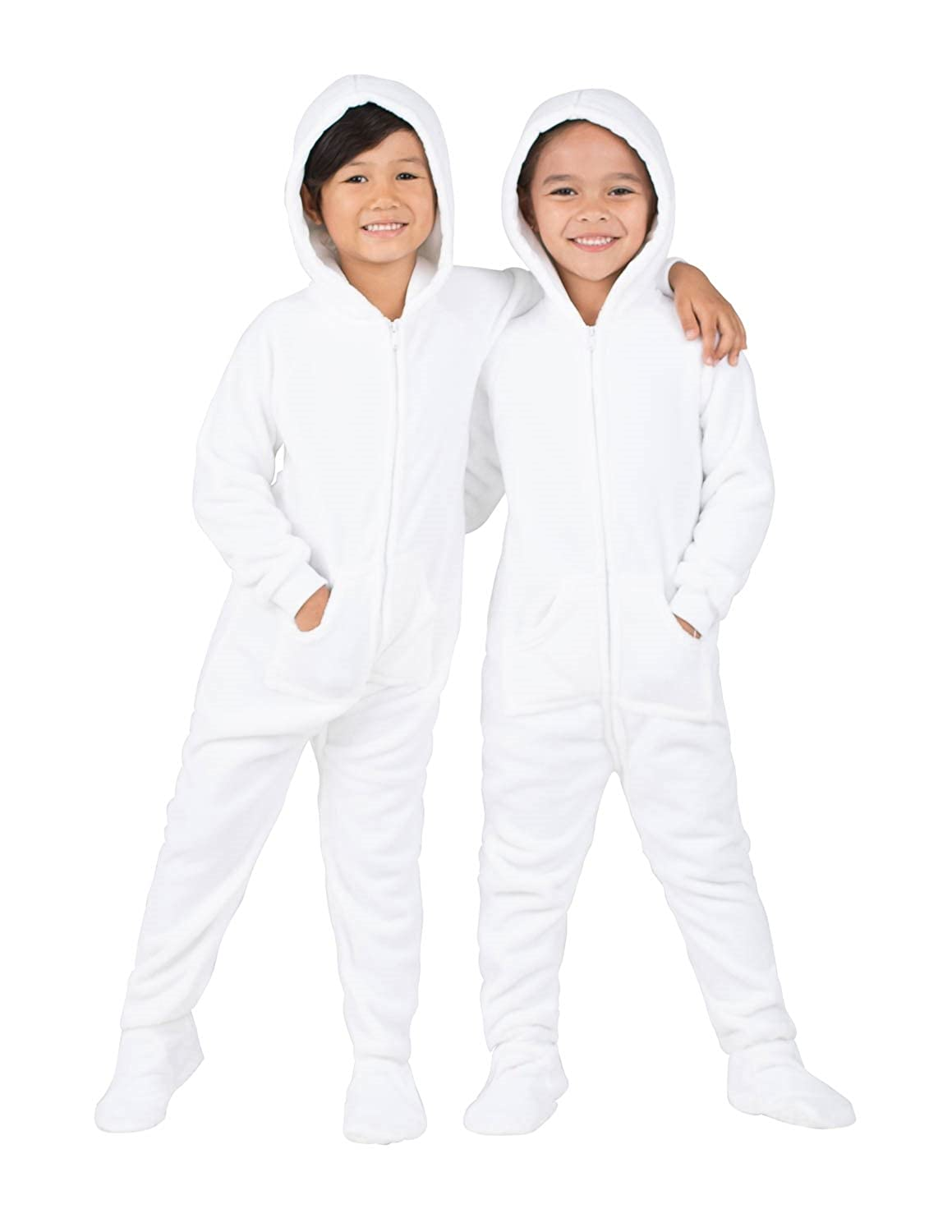 7b5800f3389c Amazon.com  Footed Pajamas - Arctic White Toddler Hoodie Fleece ...