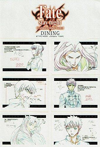 Fate/stay night UBW ufotable DINING 限定原画ステッカー セイバー、アサシン、ギルガメッシュ アーチャー(エミヤ)、遠坂 凛、衛宮 士郎