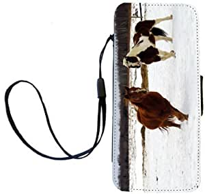 Rikki KnightTM Galloping Horses in Snow Design PU Leather Wallet Type Flip Case with Magnetic Flap and Wristlet for Apple iPhone 5 &5s