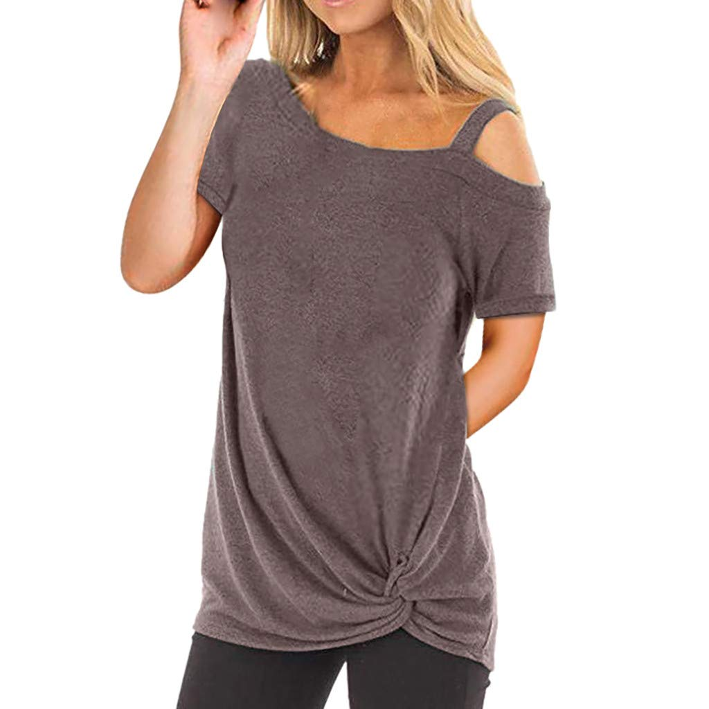 Women's Cotton Top Blouse Cold Shoulder Short Sleeve Solid Tunics Tops Knot Twist Front Casual Loose Comfy T-Shirt (Coffee, L)