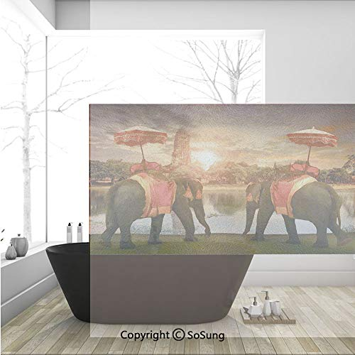 3D Decorative Privacy Window Films,Animals Dressing Traditional Costumes Standing in front of Pagoda Patience Symbol Print Decorative,No-Glue Self Static Cling Glass film for Home Bedroom Bathroom Kit -