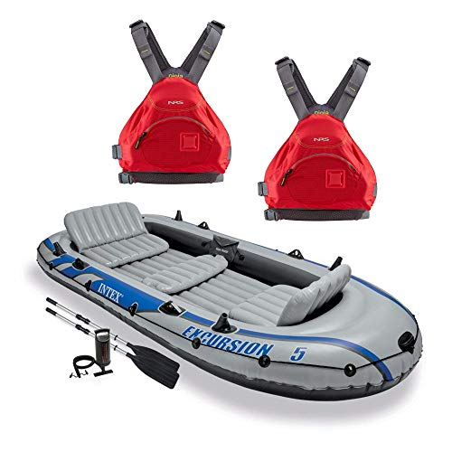 Intex Excursion 5 Person Inflatable Raft, 2 Oars &, used for sale  Delivered anywhere in Canada
