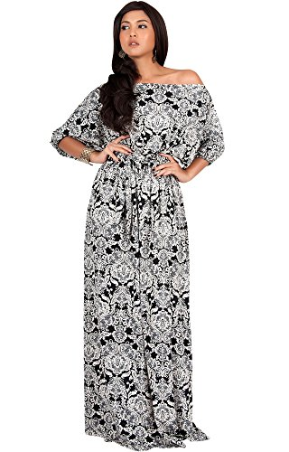 KOH KOH Womens Long One Shoulder Print Casual Flowy 3/4 Short Sleeve Maxi Dress