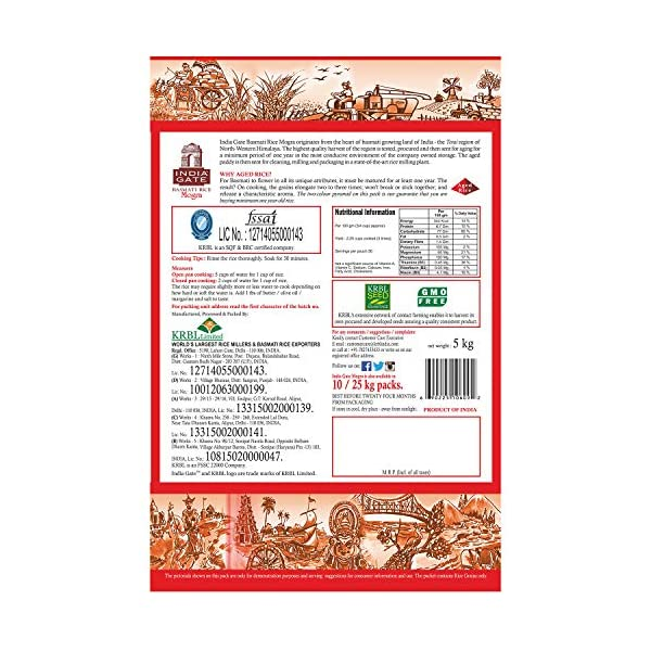 INDIA GATE Mogra Aged Broken Grain Basmati Rice, 5 Kg pack 2021 July India Gate Mogra Basmati Rice is Aged Broken Basmati rice for daily use When cooked, grains elongate up to three times in length Pearlescent white grains that do not stick to each other or break when cooked