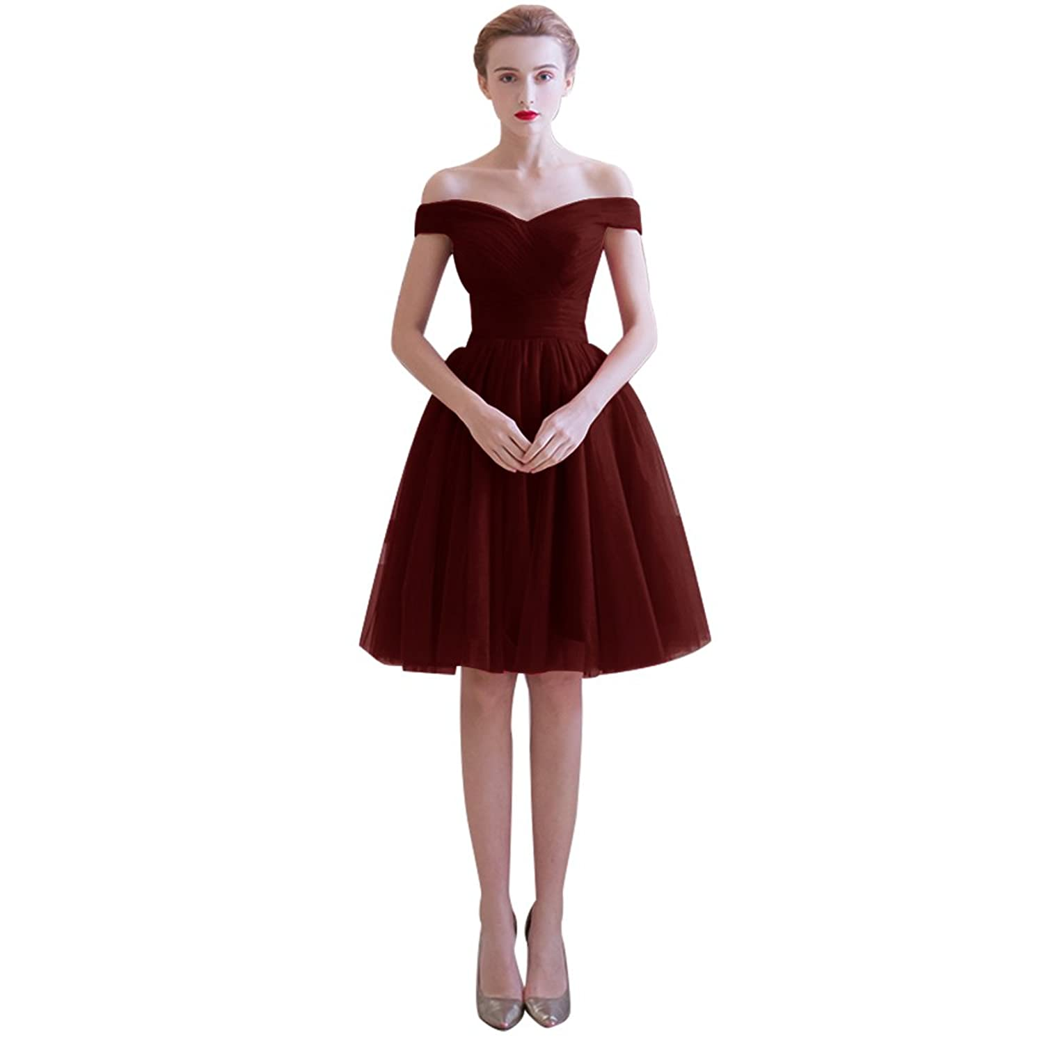 Dressystar Short Tulle Bridesmaid Party Dresses A Line Off-shouler Gowns Slim Waist