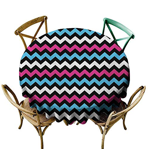 StarsART Tablecloth Covers for Home Modern,Colorful Zigzag Twisty Bands Winding Abstract Chevron Tiles Geometric Print,Pink Sky Blue Black D65,for Cards