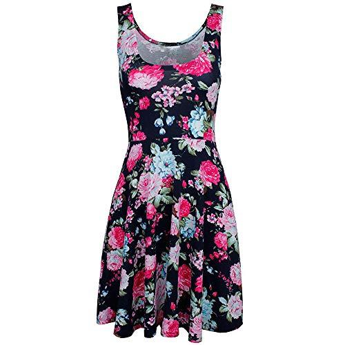 ismas Grils Casual Dress Lady Print O-Neck Floral Vest Sleeveless Mini Dresses(M-3XL,4Color) ()