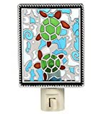 Aquatic Turtle Stained Glass NightLight by Ganz For Sale
