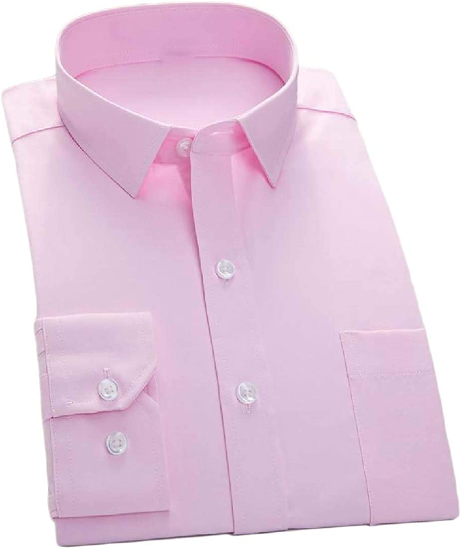 YUNY Men Basic Cotton Button Business Long-Sleeve Solid Slim Shirts Pink S